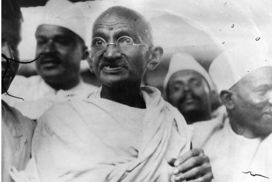 Mahatma Gandhi leading the Great Salt March in protest against the British government monopoly on salt production. Central Press/Getty Images