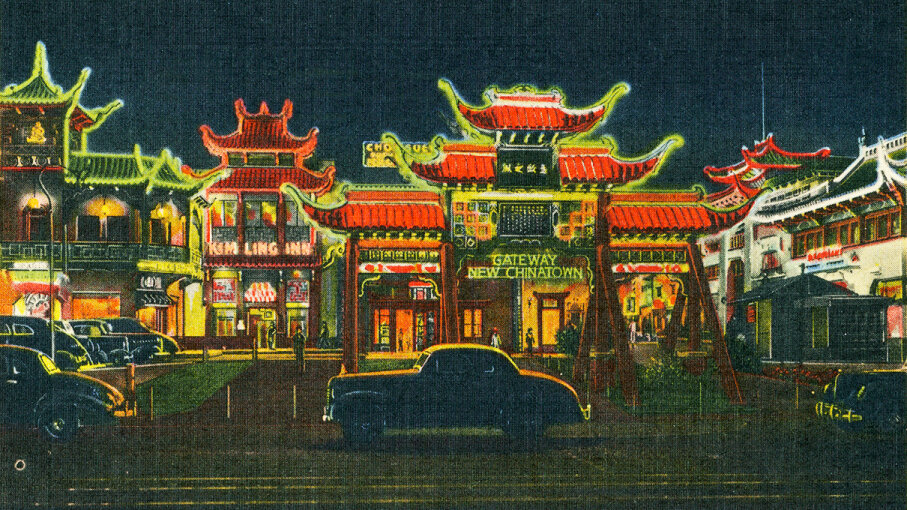 A detail from a 1945 postcard depicts the New Chinatown neighborhood in Los Angeles, California. Smith Collection/Gado/Getty Images