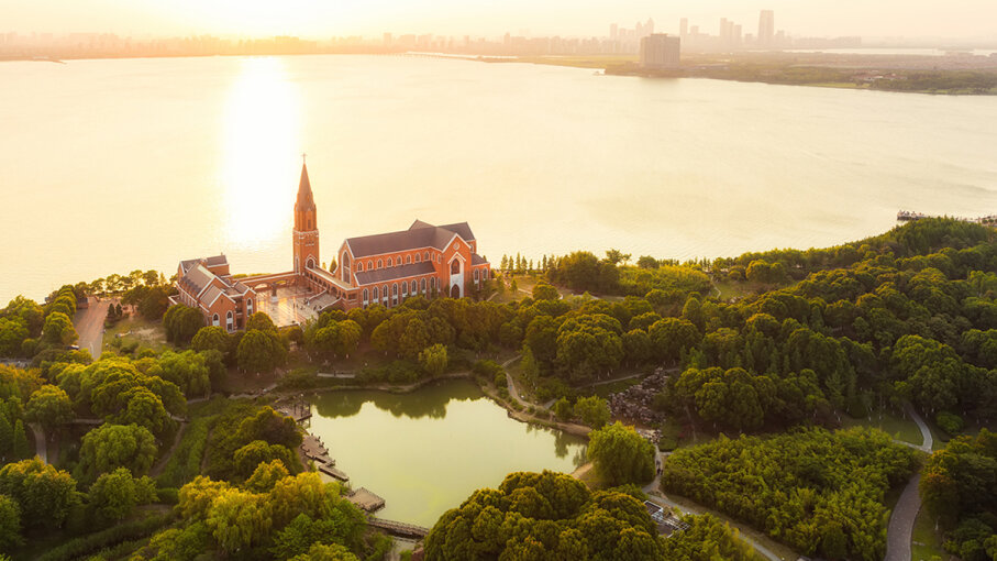 A Christian church located on the shore of Dushu Lake, near Suzhou, China. Kaicheng Xu/Getty Images
