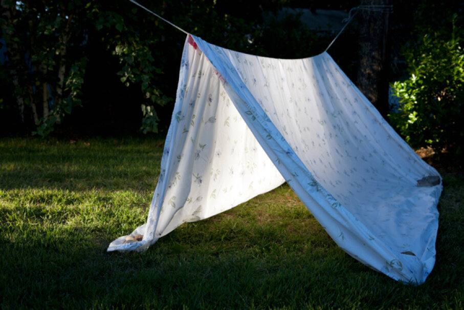 Sheet, line, pins, done: a clothesline tent defines ease. Cultura RM/Getty Images