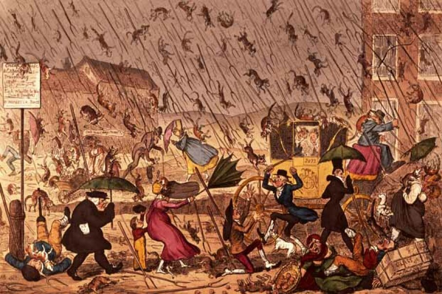 Here's a picture where it is literally raining cats and dogs. And pitchforks too. George Cruikshank/Bridgeman Art Library/Getty Images