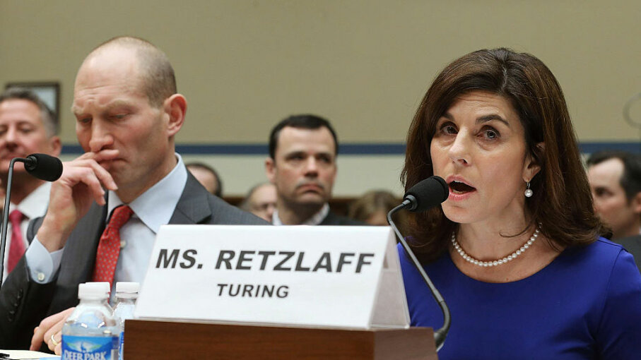 Nancy Retzlaff, chief commercial officer for Turing Pharmaceuticals, testifies while flanked by Howard Schiller (L), CEO of Valeant Pharmaceuticals, during a House Committee hearing on Capitol Hill, Feb. 4, 2016, in Washington, D.C. Mark Wilson/Getty Images