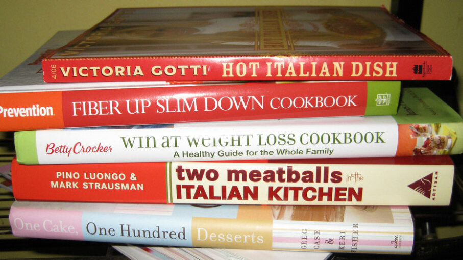 stacked cookbooks
