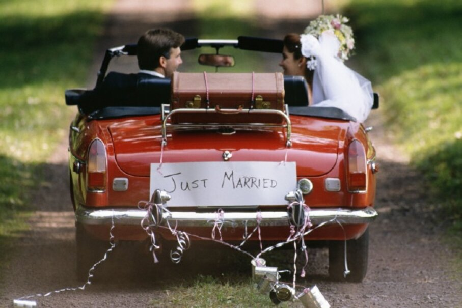If you add a little practical discussion about finances into the engagement period, you can drive off into your newlywed year with peace of mind. ©Jupiter Images/liquidlibrary/Thinkstock
