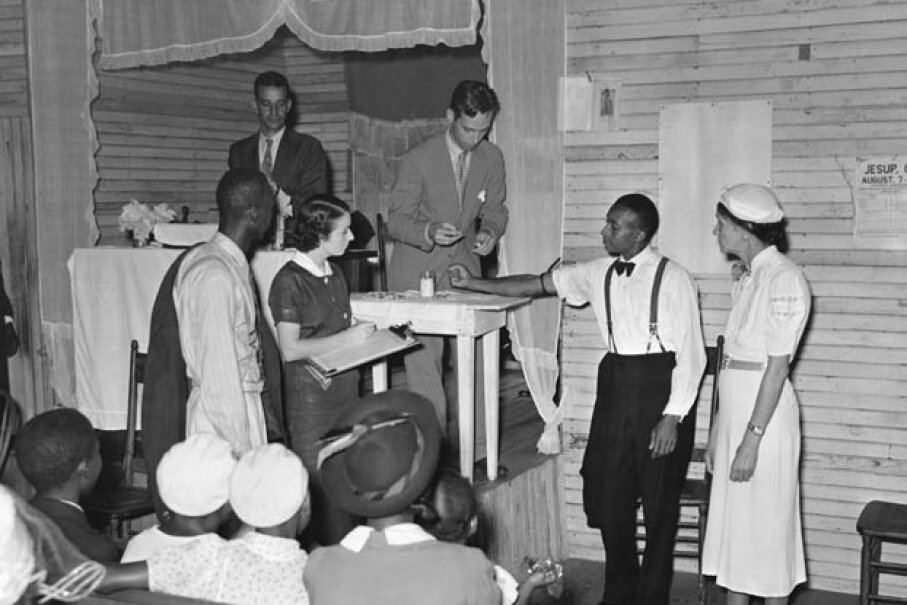 A man is tested for syphilis in Georgia in 1935. Interestingly, a 2008 study showed that the Tuskeegee Experiment didn't seem to have affected African-Americans' willingness to participate in biomedical research.  © Arthur Rothstein/CORBIS