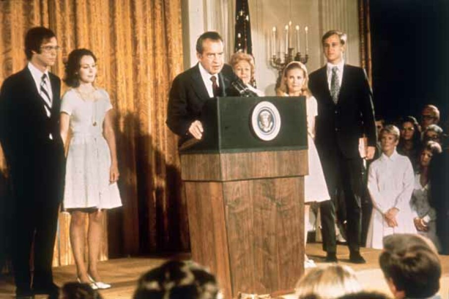 Richard Nixon at the White House with his family after his resignation as president of the U.S. in 1974. Keystone/Hulton Archive/Getty Images