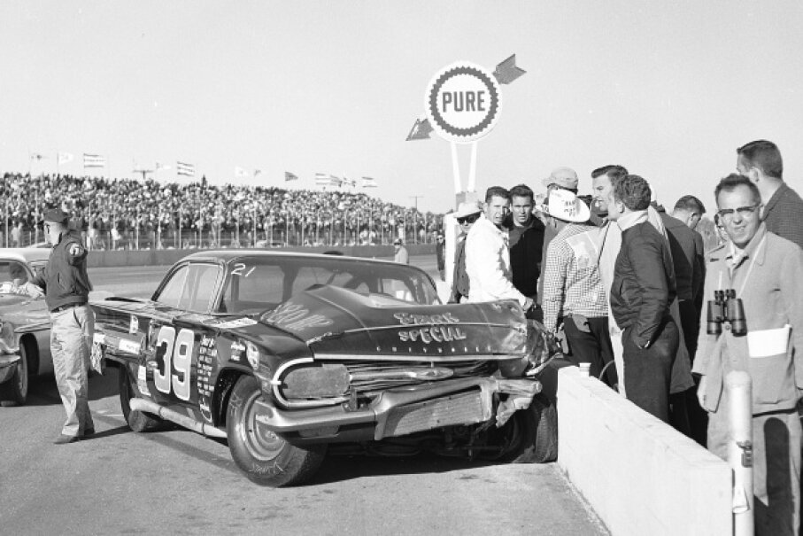 Herb Tillman crashed his Chevrolet into the pit wall at the 1960 Daytona 500, the race at which the largest crash in NASCAR history took place. RacingOne/ISC Images & Archives via Getty Images
