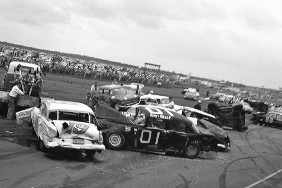 Sonny Palmer and Jimmy Mairs' cars, pictured here, were damaged after the first-lap crash at the 1960 Daytona 500. Although 37 cars were involved in the crash, the race continued. RacingOne/ISC Images & Archives via Getty Images