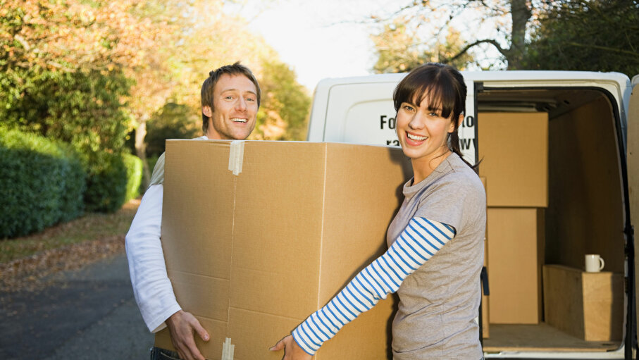 Couple, moving truck