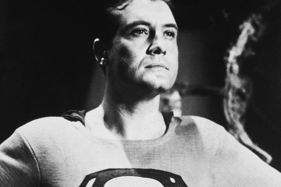 "George Reeves in a still from the 1950s television series ""Adventures of Superman."" Hulton Archive/Courtesy of Getty Images"