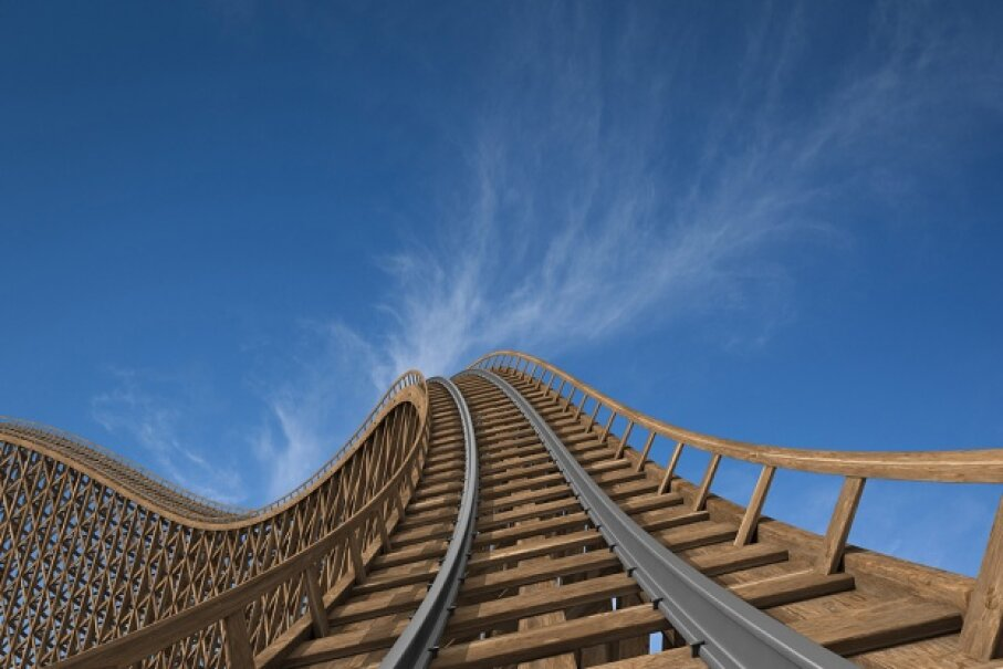 As you crest that first hill, remember: Your chances of death-by-roller-coaster hover around 1 in 750 million. ZargonDesign/E+/Getty Images