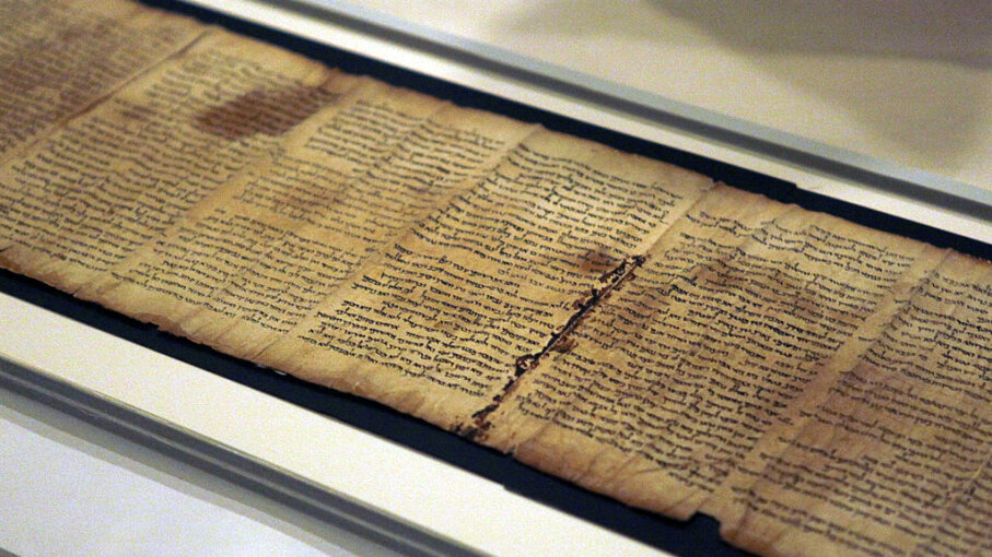 Part of the Isaiah Scroll is seen inside the vault of the Shrine of the Book building at the Israel Museum in Jerusalem. Lior Mizrahi/Getty Images