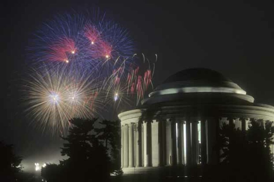 Fireworks fly over the Jefferson Memorial on the Fourth of July.  Wonder what the Founding Fathers would have made of the vast U.S. public debt today> iStockphoto/Thinkstock