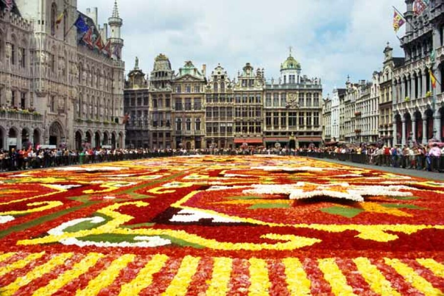 The flower carpet at the Grande-Place, Belgium. Despite its small size, Belgium's reputation as an international banking center means lots of financial transactions reside here. iStockphoto/Thinkstock