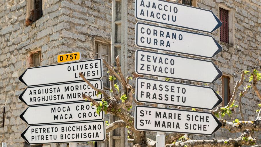bilingual signs, Corsica