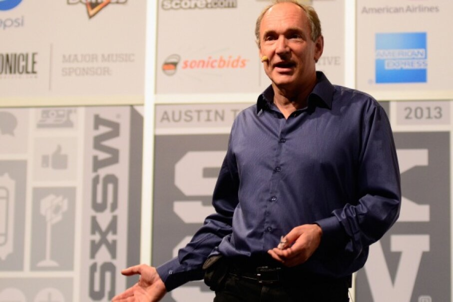 Tim Berners-Lee, inventor of the World Wide Web, speaking at the 2013 SXSW Music, Film + Interactive Festival. © Amy E. Price/Getty Images for SXSW