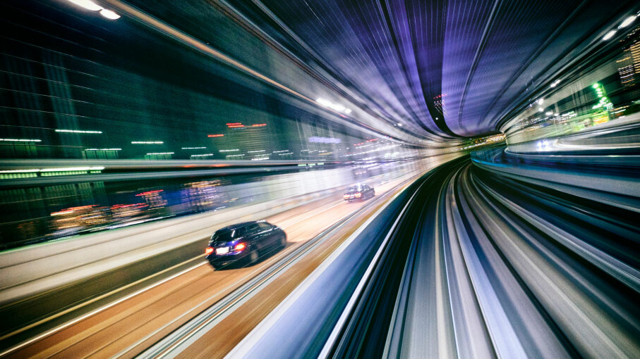 driving car in tunnel