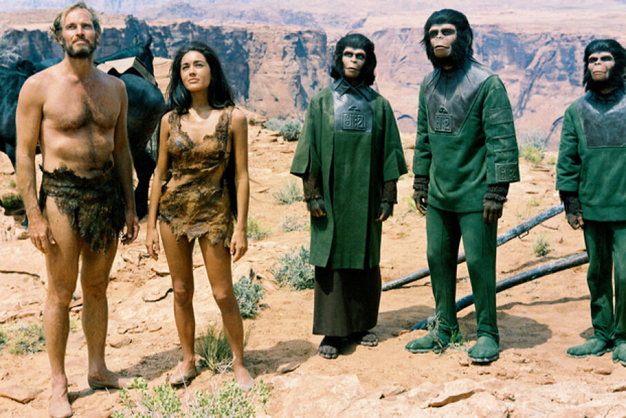 "Much of ""Planets of the Apes"" was filmed in the desert-like area of Page, Ariz., and in Red Rock Canyon State Park, Calif. Otherworldly indeed. See more movie-making pictures. Silver Screen Collection/Getty Images"