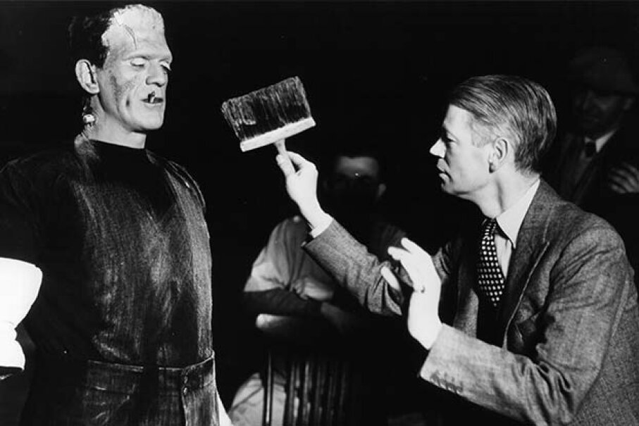Boris Karloff (with cigarette) is dirtied by director James Whale in between scenes from the 1931 film 'Frankenstein.' See our creature effects image gallery. Universal/Getty Images