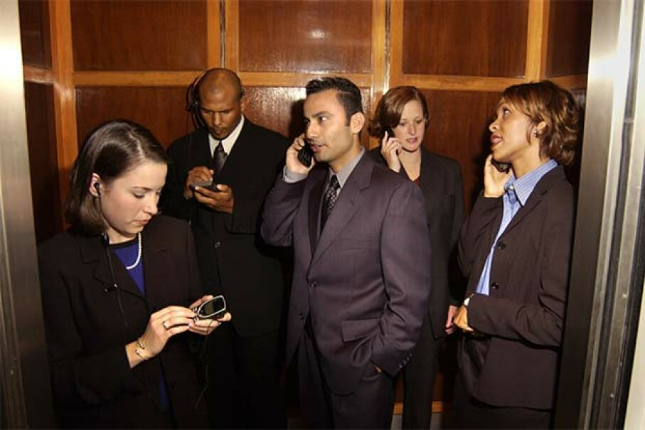In an elevator, the correct place to stare is at your phone or the door, unless there's a TV screen inside. Stockbyte/Thinkstock