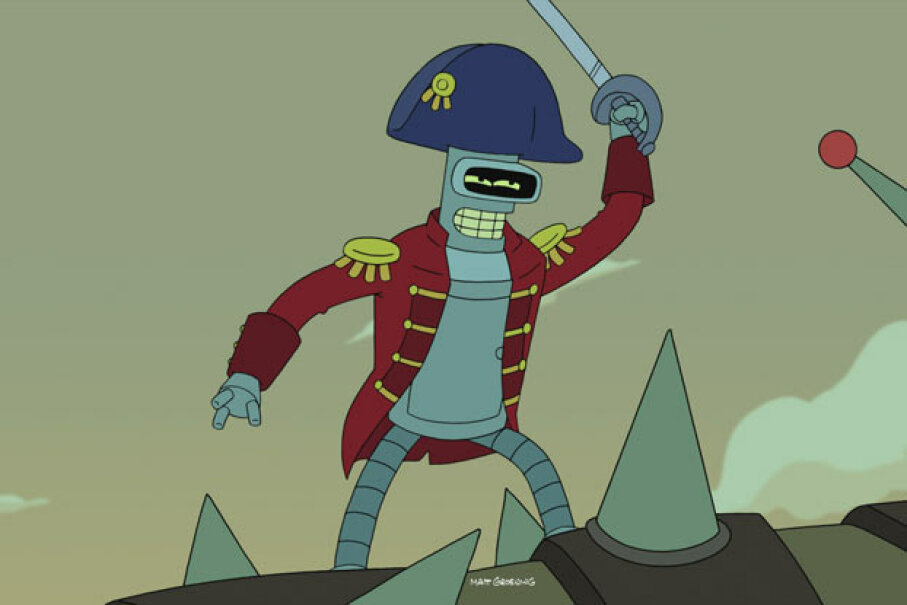 The evil Bender bent on killing all humanity -- if only it didn't take so much work. Futurama ™ and © 2012 Twentieth Century Fox Film Corporation. All Rights Reserved