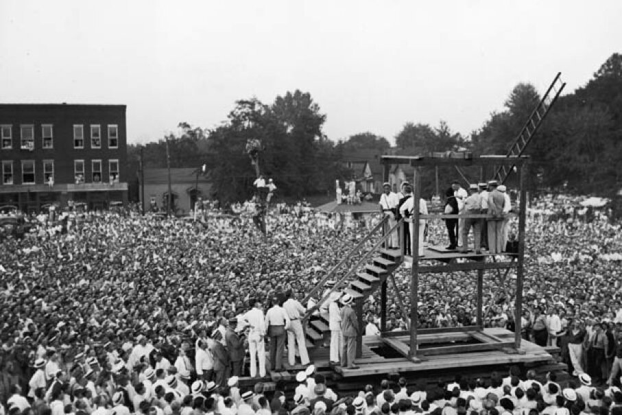 A huge crowd of more than 15,000 people gathered to witness the public hanging of Rainey Bethea in Owensboro, Ky. in 1936. Public outrage over the manner of execution made this the last public hanging in the U.S. Hulton Archive/Getty Images