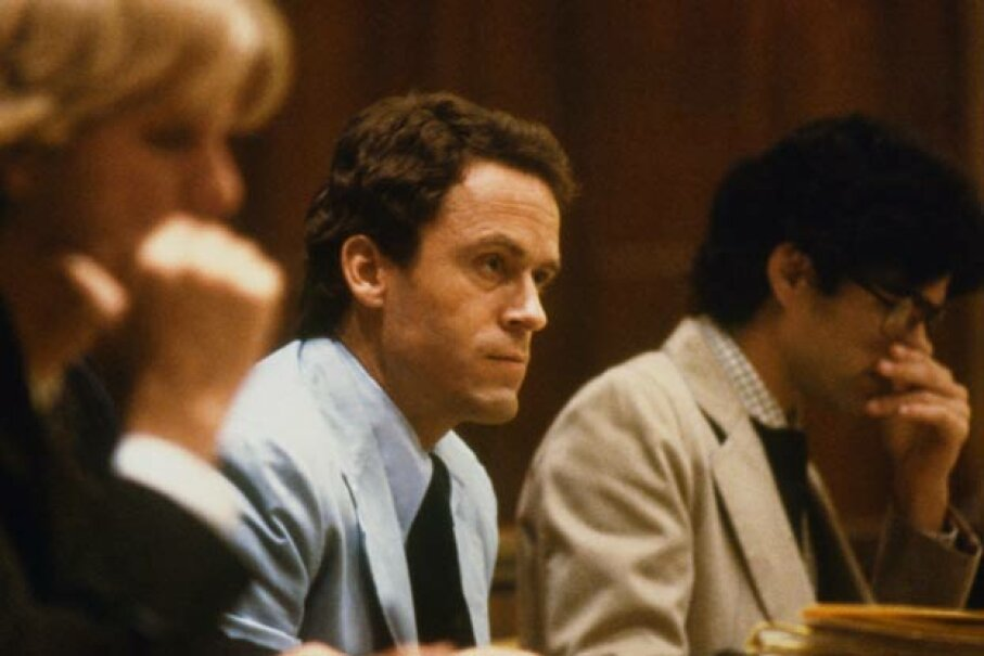 Ted Bundy, seated in court with his lawyers, while on trial for killings of two Florida State University students. © Bettmann/CORBIS
