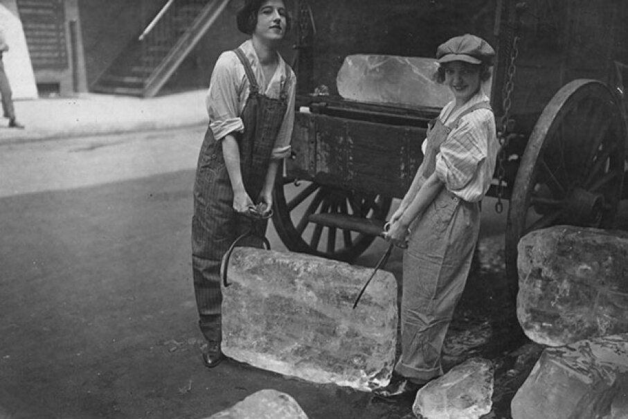 During World War 1, girls delivered ice to homes and businesses, a job normally done by boys and men. In the U.S., no one needs home delivery of ice any more. International Film Service/Buyenlarge/Getty Images