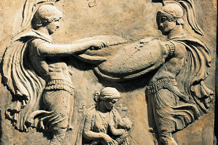 Wet nurses were so much a part of Ancient Roman culture that this relief shows the god Jupiter as a child with his wet nurse and two warriors. DEA / G. DAGLI ORTI/De Agostini/Getty Images