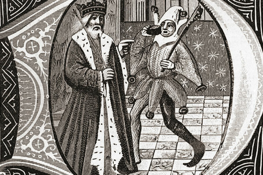 This early 15th century drawing shows a king with his jester. Universal History Archive/UIG via Getty Images