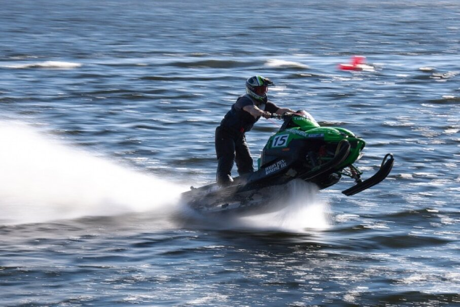 Snowmobile watercross is a risky sport — it's even banned in some U.S. states. © 2010 Vidar Hoel/CC BY-NC 2.0