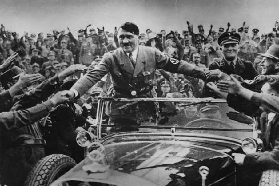 Master of the Big Lie, Adolf Hitler is welcomed by supporters at Nuremberg. Hulton Archive/Getty Images
