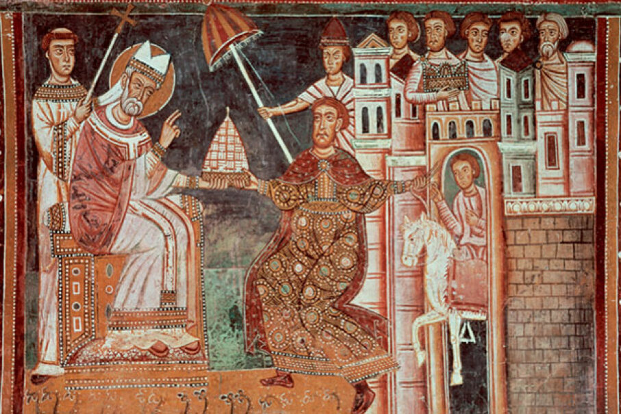 Though the Donation of Constantine document was a forgery, the alleged gift to Pope Sylvester I was so important for so long that it was often depicted in art like this fresco in the Chapel of St. Sylvester, Basilica of Four Crowned Saints, Rome, Italy. © Prisma/UIG/Getty Images