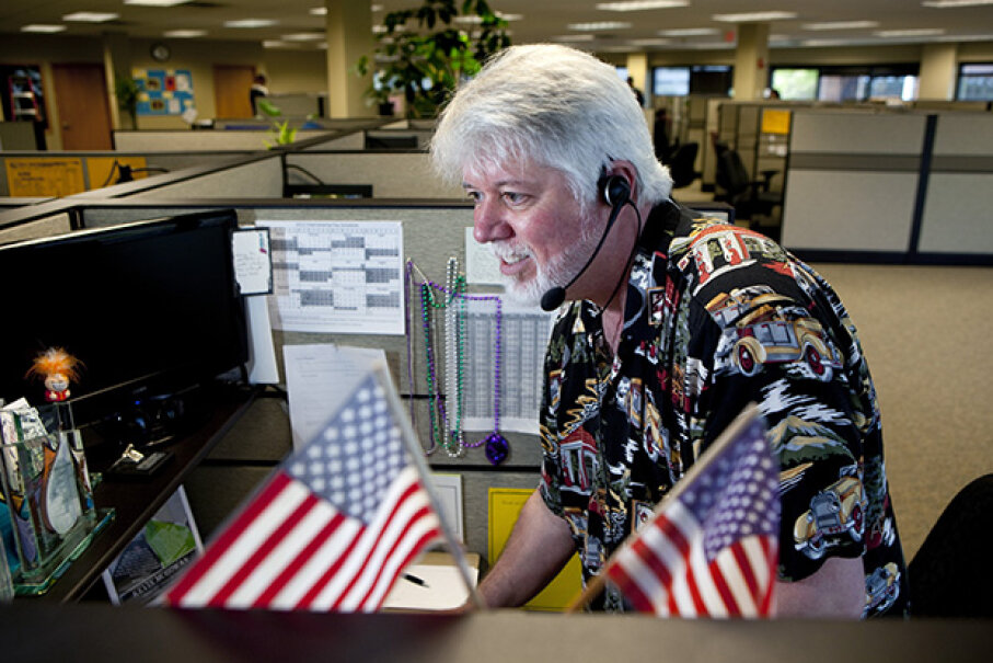 Kevin McGowan, an employee with Gallup, works at one of their call centers doing a political poll. Some polls are very unscientific. Others are properly done but the media might spin the results in a way that misrepresents them. Melanie Stetson Freeman/The Christian Science Monitor via Getty Images
