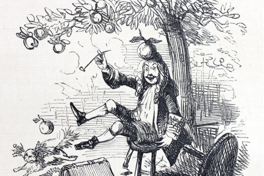 Contrary to popular belief (and this illustration), Sir Isaac Newton did not discover the theory of gravity after being bonked on the head by an apple. Andrew Howe/E+/Getty Images