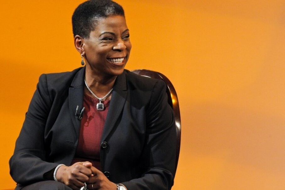 Ursula Burns, chairman and CEO of Xerox, smiles as she attends an interview at The Times Center in New York on April 13, 2013. © Eduardo Munoz/Reuters/Corbis