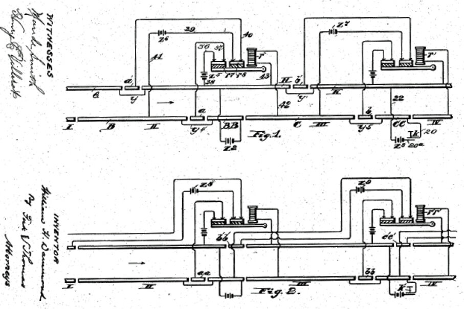 Drawings from Dammond's safety system for operating railroads. Dammond filed the patent on Feb. 17, 1905, and it was granted on June 19, 1906. Image courtesy U.S. Patent Office