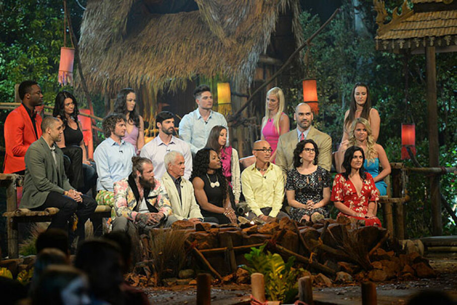 "The cast of ""Survivor: Kaoh Rong"" is seen during the live reunion show. Many of ""Survivor"" contestants are models and actors and some of the competition scenes have been restaged with body doubles. Neil Jacobs/CBS via Getty Images"