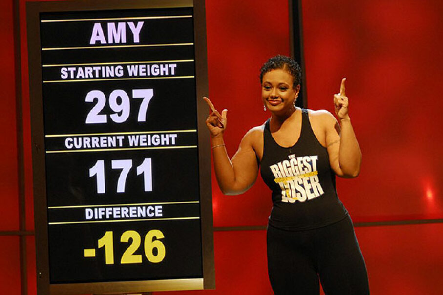 "Amy Zimmer lost over 100 pounds on ""The Biggest Loser."" The show often uses a visit from family as reward for meeting goals. Dave Bjerke/NBCU Photo Bank"