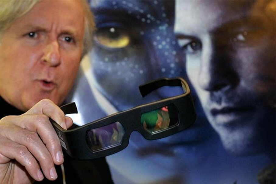 Director James Cameron displays a pair of 3-D glasses prior to a showing of his movie 'Avatar' at the World Economic Forum annual meeting in Davos, Switzerland in 2010. FABRICE COFFRINI/AFP/Getty Images