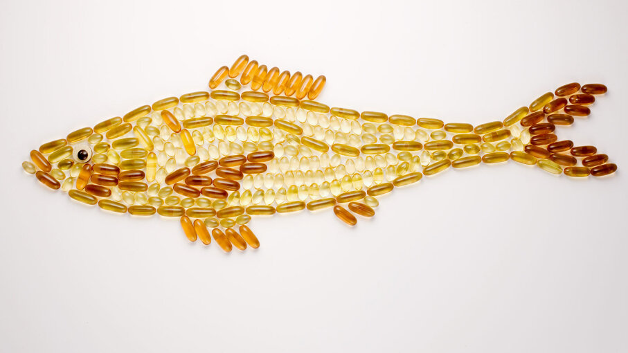 Fish shape made out of fish oil vitamins