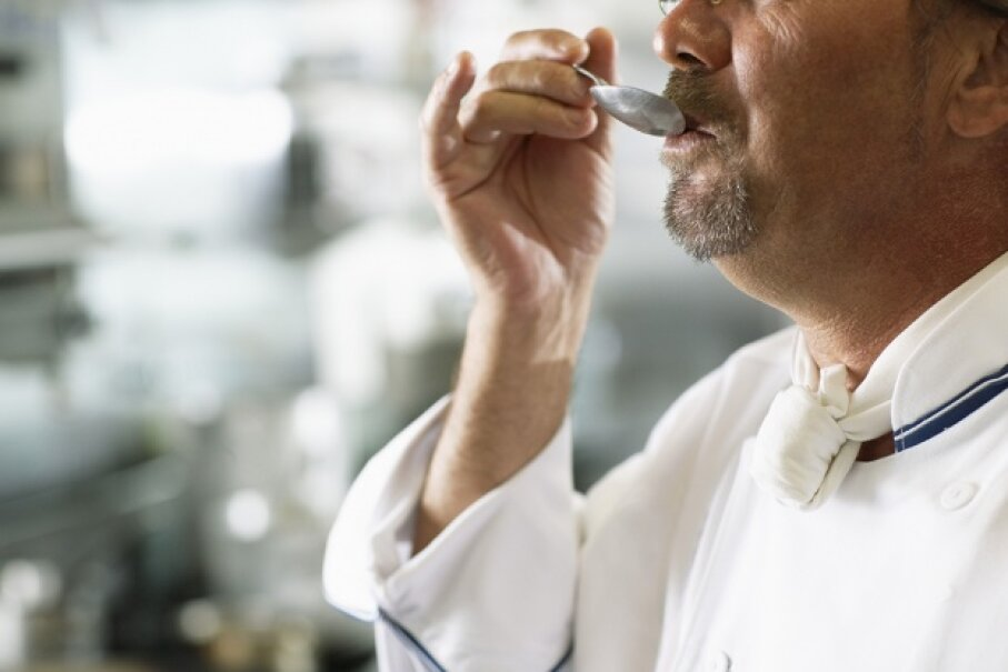 Sure, there's nothing like getting a whiff of good cooking, but the smell that wafts into your nose while you're tasting something greatly informs your sense of flavor, too. Fuse/Thinkstock
