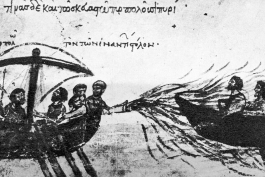 In this 12th-century manuscript, the Byzantine navy fights an enemy vessel with 'Greek Fire' circa 900 C.E.  Hulton Archive/Getty Images
