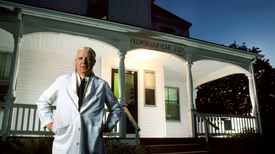 Director of the Framingham Heart Study program, Dr. William Castelli, stands in front of the Framingham, Massachusetts, house that served as research center and clinic for the program, on Aug. 22, 1984 . Nathan Benn/Corbis via Getty Images