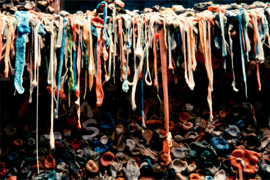 Ew. Just ew. That's all we have to say about this gum wall. iStockphoto/Thinkstock