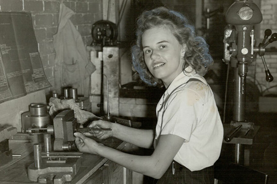 This unnamed young woman is believed to be the first female tool and die maker in Canada in 1941. Toronto Star Archives/Toronto Star via Getty Images