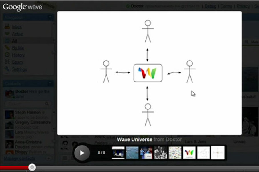 This image from a video Google produced to explain Wave's features was intended to communicate the way that it could serve as a sort of group e-mail experience. Screen capture by HowStuffWorks staff