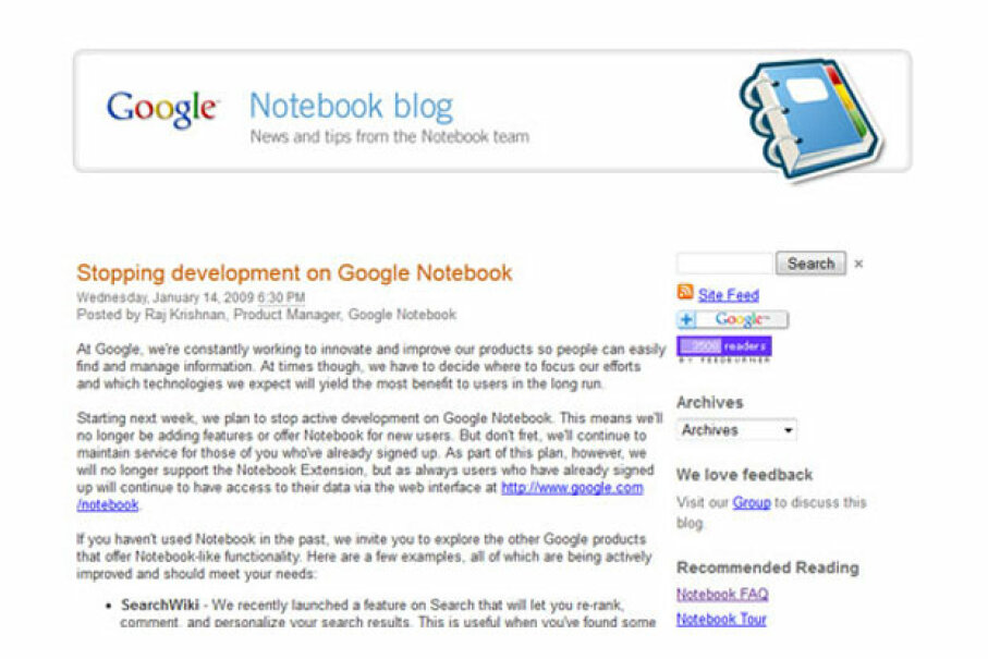 The Google Notebook team posted their last blog on Jan. 14, 2009. Screen capture by HowStuffWorks staff