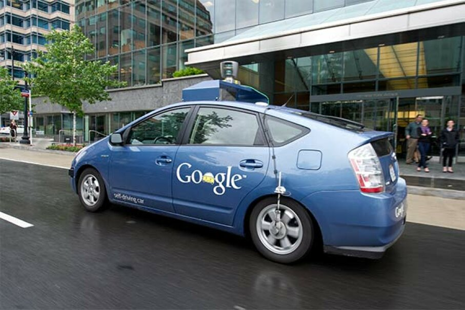 This Google self-driving car maneuvers through the streets of Washington, D.C. on May 14, 2012. KAREN BLEIER/AFP/GettyImages