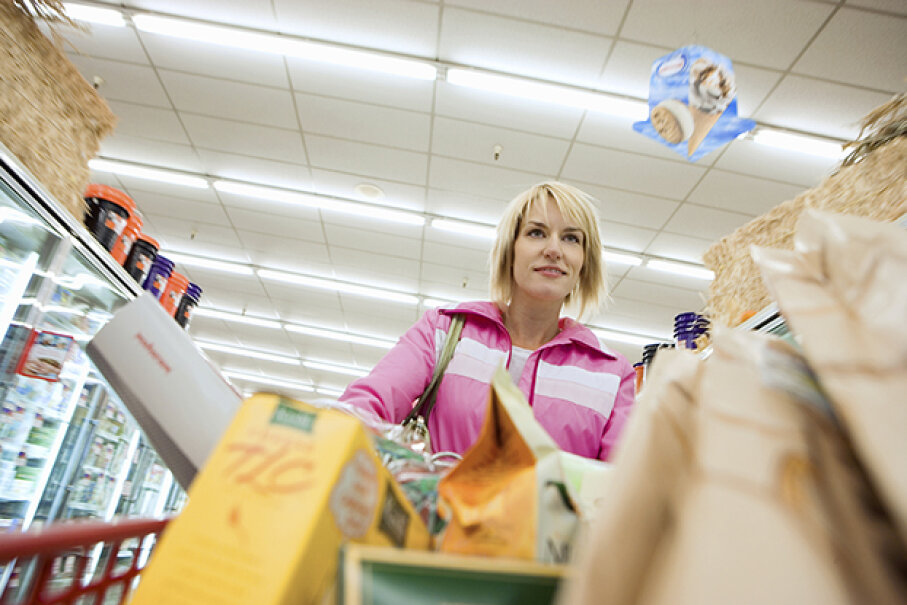 """""""I bet she didn't see me. I better go hide in the wine aisle just to be sure."""" FlairImages/iStock/Thinkstock"""